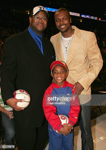 Producer Jimmy Jam poses with actor Chris Tucker and his son Justin after the 2005 NBA All Star Game at the Pepsi Center on February 20 2005 in...