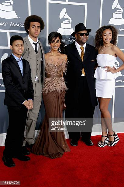 Producer Jimmy Jam wife Lisa Padilla and children attend the 55th Annual GRAMMY Awards at STAPLES Center on February 10 2013 in Los Angeles California