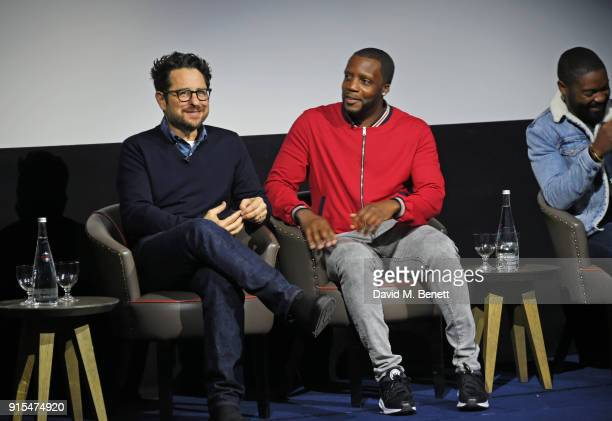 Producer JJ Abrams actors Roger Davies and David Oyelowo attend a fan screening of The Cloverfield Paradox hosted by Netflix at The Ham Yard Hotel on...