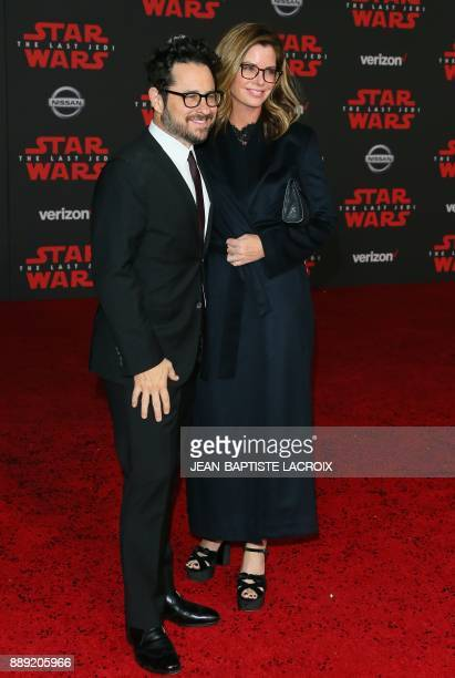 Producer JJ Abrams and Katie McGrath arrive for the premiere of Disney Pictures and Lucasfilm's 'Star Wars The Last Jedi' at The Shrine Auditorium in...