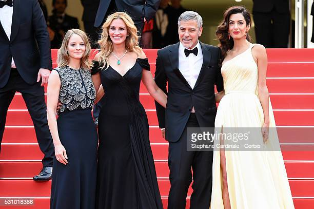 Producer Jodie Foster actors Julia Roberts George Clooney and his wife Amal Clooney attend the Money Monster premiere during the 69th annual Cannes...