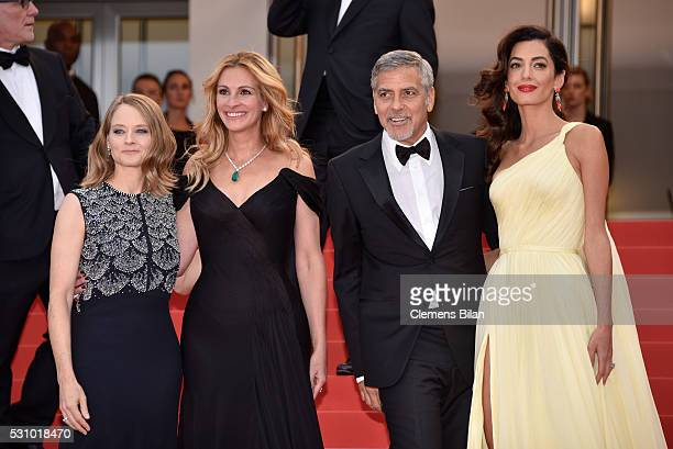 Producer Jodie Foster actors Julia Roberts George Clooney and his wife Amal Clooney attend the 'Money Monster' premiere during the 69th annual Cannes...