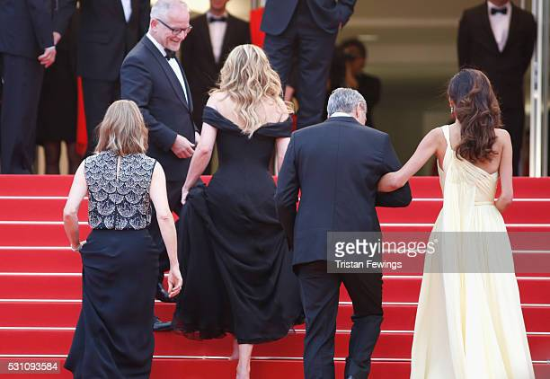 Producer Jodie Foster actors Julia Roberts George Clooney and lawyer Amal Clooney attend the Money Monster premiere during the 69th annual Cannes...