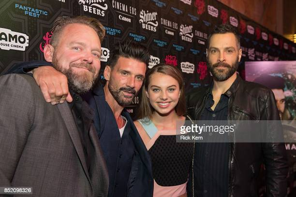 Producer Joe Carnahan actors Frank Grillo Caitlin Carmichael and director Jeremy Rush at the Netflix Films Wheelman Premier at Fantastic Fest at the...