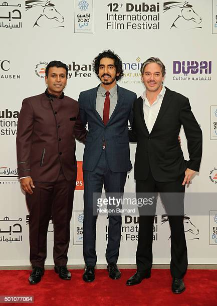 Producer Joe Thomas actor Dev Patel and director Matt Brown attend 'The Man Who Knew Infinity' premiere during day four of the 12th annual Dubai...