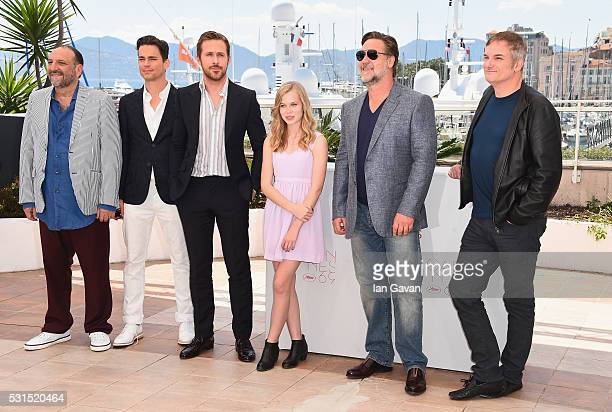 Producer Joel Silver actors Matt Bomer Ryan Gosling Angourie Rice Russell Crowe and director Shane Black attend 'The Nice Guys' photocall during the...