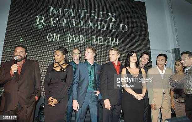 Producer Joel Silver and cast members Nona Gaye Adrian and Neil Rayment Lambert Wilson CarrieAnne Moss Keanu Reeves Colin Chow Jada Pinkett Smith and...