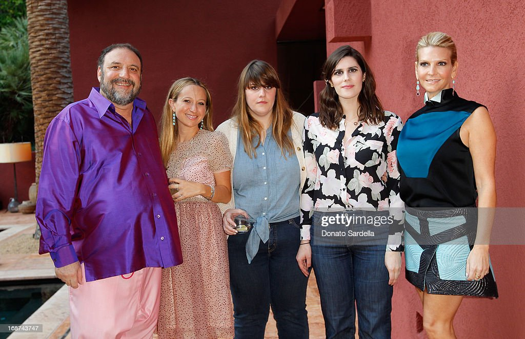 Producer Joel Silver, Jennifer Meyer, Laura Mulleavy, Kate Mulleavy and Karyn Silver attend a celebration of Jennifer Meyer's CFDA Swarovski nomination hosted by Rodarte at the residence of Joel and Karyn Silver on May 11, 2013 in Los Angeles, California.