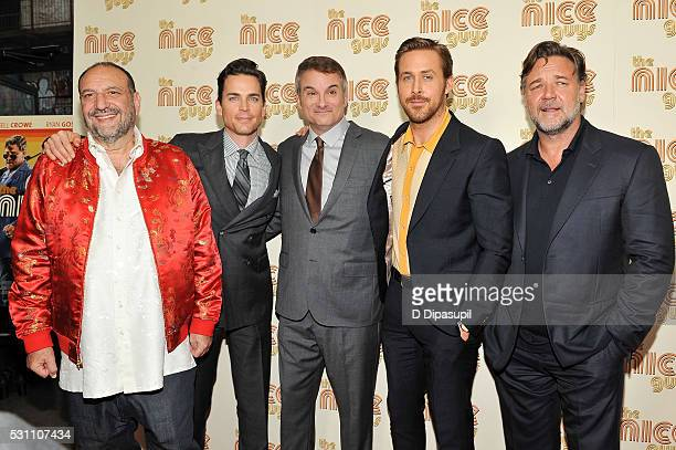Producer Joel Silver Matt Bomer writer/director Shane Black Ryan Gosling and Russell Crowe attend The Nice Guys New York screening at Metrograph on...