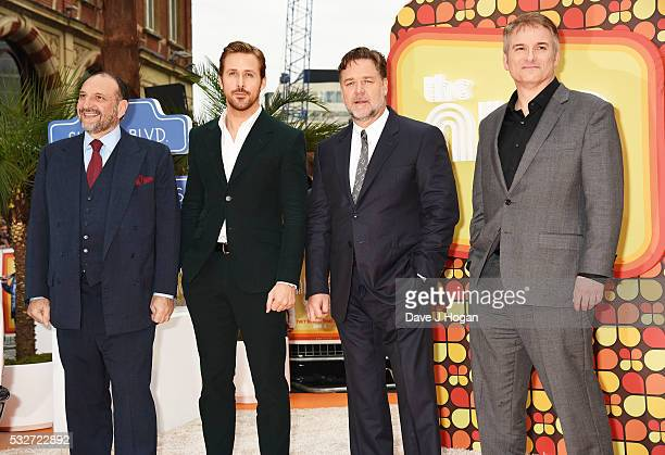 Producer Joel Silver Ryan Gosling Russell Crowe and Director Shane Black attend the The Nice Guys UK Premiere at Odeon Leicester Square on May 19...