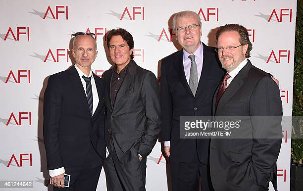 Producer John DeLuca director Rob Marshall AFI trustee Sir Howard Stringer and AFI President and CEO Bob Gazzal attends the 15th Annual AFI Awards at...