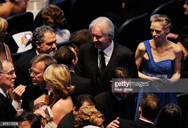 Producer Jon Landau director James Cameron and wife actress Suzy Amis onstage during the 82nd Annual Academy Awards held at Kodak Theatre on March 7...