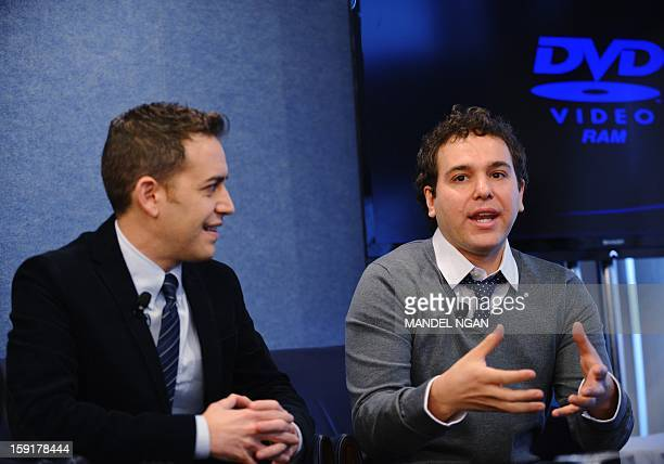 Producer Jon Lovett speaks as director Jason Winer looks on during a press conference with the cast and producers of NBC comedy '1600 Penn' on...