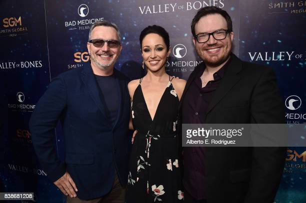 Producer Jon Wanzek actress Autumn Reeser and director Dan Glaser attend the world premiere of 'Valley Of Bones' at ArcLight Hollywood on August 24...