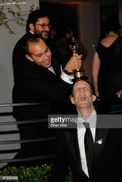 Producer Jonas Rivera and writer/director Pete Docter arrive at the 2010 Vanity Fair Oscar Party hosted by Graydon Carter held at Sunset Tower on...