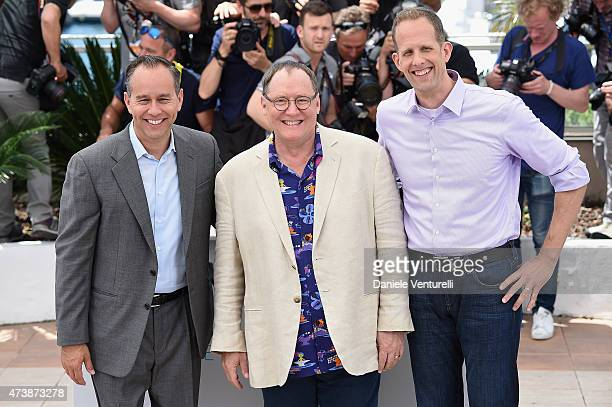 Producer Jonas Rivera animator John Lasseter and director Pete Docter attend the Inside Out Photocall during the 68th annual Cannes Film Festival on...
