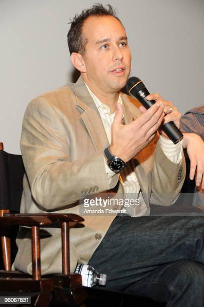 Producer Jonas Rivera participates in a Q A discussion at the Producers Guild Awards Nominees Breakfast at the Landmark Theater on January 23 2010 in...