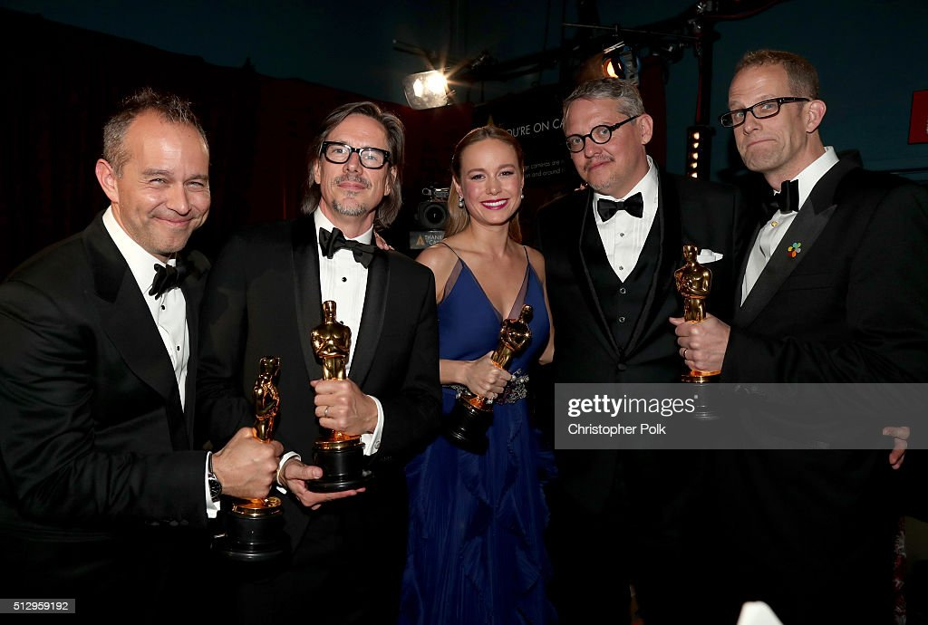 Producer Jonas Rivera, screenwriter Charles Randolph, actress Brie Larson, director Adam McKay, and director Peter Docter backstage at the 88th Annual Academy Awards at Dolby Theatre on February 28, 2016 in Hollywood, California.
