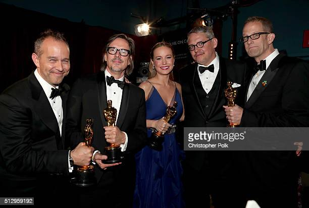 Producer Jonas Rivera screenwriter Charles Randolph actress Brie Larson director Adam McKay and director Peter Docter backstage at the 88th Annual...