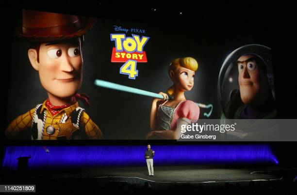 Producer Jonas Rivera talks about the movie Toy Story 4 during Walt Disney Studios Motion Pictures special presentation during CinemaCon at The...