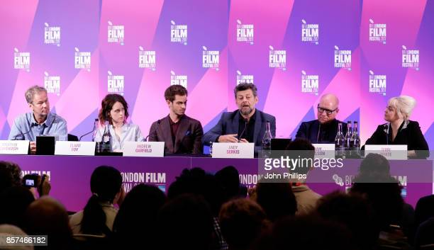 Producer Jonathan Cavendish actors Claire Foy and Andrew Garfield director Andy Serkis and screenwriter William Nicholson attend the press conference...