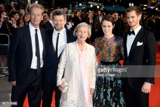 """Producer Jonathan Cavendish, Andy Serkis, Diana Cavendish, Claire Foy and Andrew Garfield attend the European Premiere of """"Breathe"""" on the opening..."""