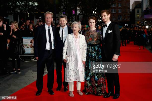Producer Jonathan Cavendish director Andy Serkis Diana Cavendish actors Claire Foy and Andrew Garfield attend the European Premiere of 'Breathe' on...