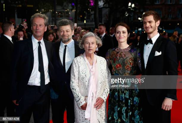 """Producer Jonathan Cavendish, director Andy Serkis, Diana Cavendish, actors Claire Foy and Andrew Garfield attend the European Premiere of """"Breathe""""..."""