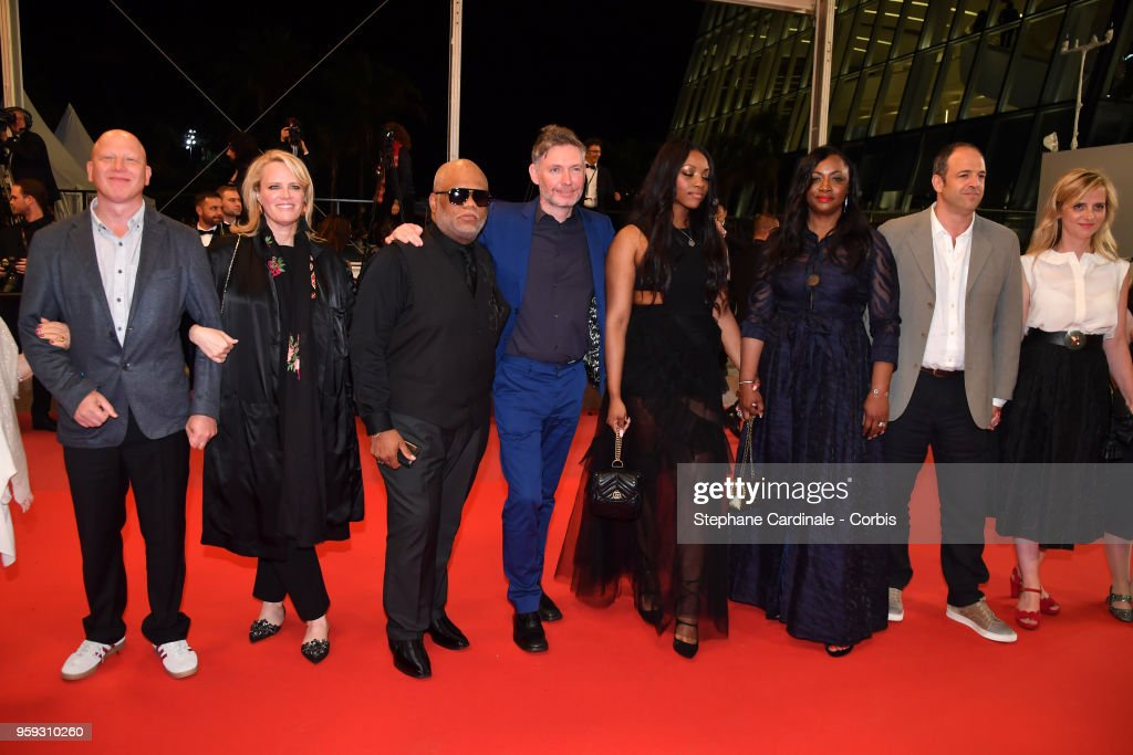 Producer Jonathan Chinn, producer Lisa Erspamer, Ulysses Carter, director Kevin McDonald, Rayah Houston, producer Pat Houston, producer Simon Chinn and Lisa Chinn attend the screening of 'Whitney' during the 71st annual Cannes Film Festival at Palais des Festivals on May 16, 2018 in Cannes, France.
