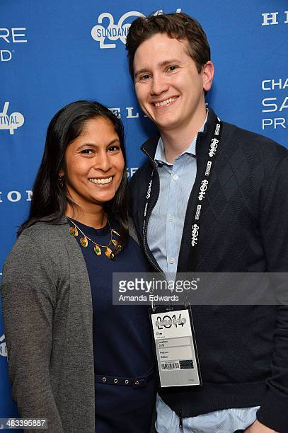 Producer Jonathan Duffy and his wife Naila Ahmed arrive at the 'Hellion' premiere party at Chase Sapphire on January 17 2014 in Park City Utah