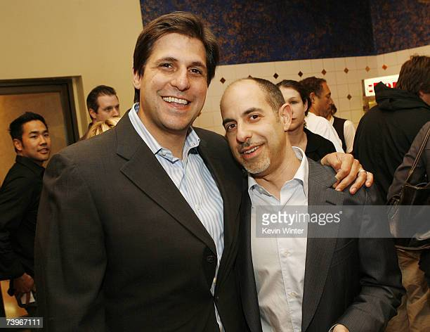 Producer Jonathan Glickman and director David S Goyer pose at a screening of Hollywood Picture's The Invisible at the Bruin Theatre on April 24 2007...
