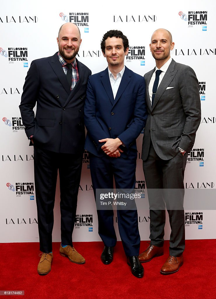Producer Jordan Horowitz, director Damien Chazelle and producer Fred Berger attend the 'La La Land' Patrons Gala screening during the 60th BFI London Film Festival at the Odeon Leicester Square on October 7, 2016 in London, England.