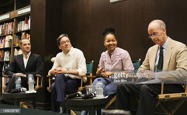Producer Jordan Roth actors Jeremy Shamos and Crystal A Dickinson and moderator Tom Santopietro attend 'Clybourne Park' Panel Discussion at Barnes...