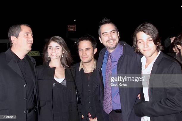 Producer Jorge Vergara Maria Aura Gael Garcia Bernal director Alfonzo Cuaron and Diego Luna at the New York premiere of Y Tu Mama Tambien at the...