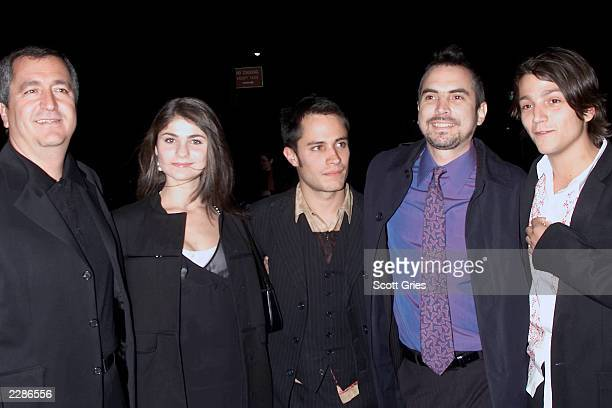 Producer Jorge Vergara Maria Aura Gael Garcia Bernal director Alfonzo Cuaron and Diego Luna at the New York premiere of Y Tu Mama Tambien at the...