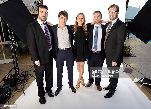 Producer Josh Penn writer/director Benh Zeitlin writer Lucy Alibar producer Michael Gottwald and producer Dan Janvey pose for a portrait during the...