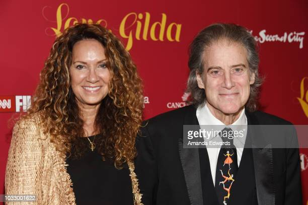 Producer Joyce Lapinsky and comedian Richard Lewis arrive at the Magnolia Pictures' and CNN Films Los Angeles Premiere of Love Gilda at the Linwood...
