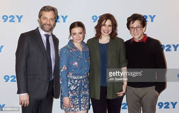 Producer Judd Apatow actors Gillian Jacobs Vanessa Bayer and Paul Rust attend the special preview screening of Netflix's 'Love' at 92nd Street Y on...