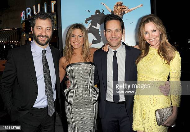 """Producer Judd Apatow, actors Jennifer Aniston, Paul Rudd, and Leslie Mann arrive at the premiere of Universal Pictures' """"Wanderlust"""" held at Mann..."""