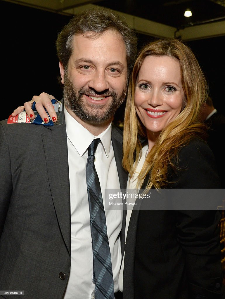 Producer Judd Apatow (L) and actress Leslie Mann attend the 25th anniversary MusiCares 2015 Person Of The Year Gala honoring Bob Dylan at the Los Angeles Convention Center on February 6, 2015 in Los Angeles, California. The annual benefit raises critical funds for MusiCares' Emergency Financial Assistance and Addiction Recovery programs. For more information visit musicares.org.