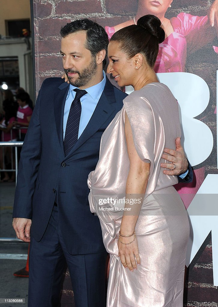 Producer Judd Apatow and actress Maya Rudolph arrive at the Premiere of Universal Pictures' 'Bridesmaids' at the Mann Village Theatre on April 28, 2011 in Westwood, California.