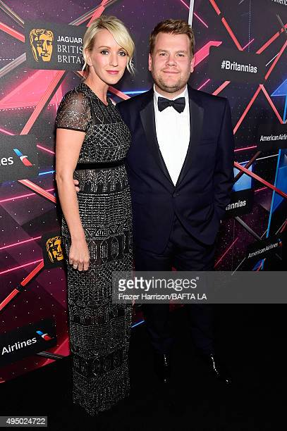Producer Julia Carey and honoree James Corden attend the 2015 Jaguar Land Rover British Academy Britannia Awards presented by American Airlines at...