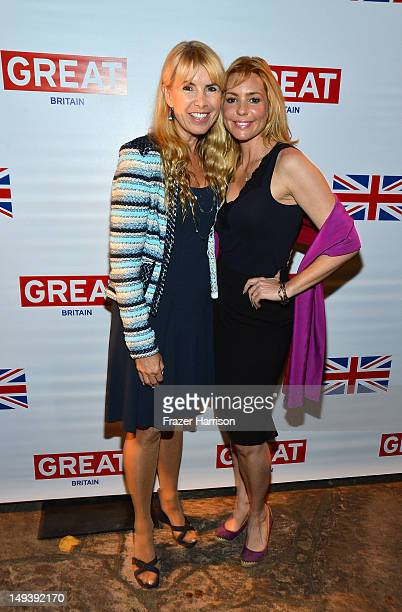Producer Julia Verdin and actress Olivia d'Abo arrive at the British Consulate Olympics 2012 Opening Ceremonies reception held at the The British...