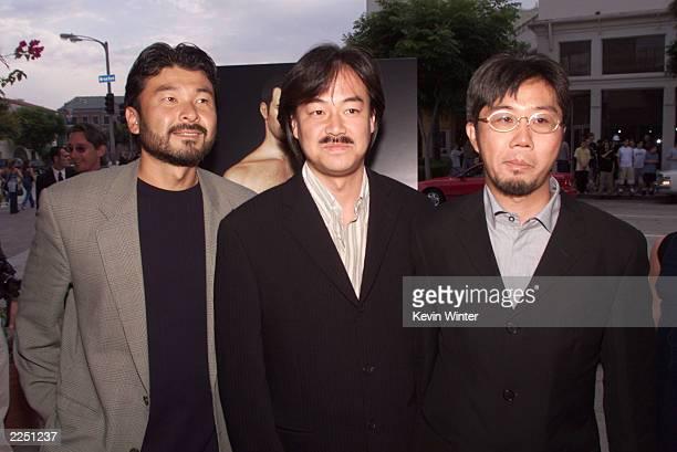 Producer Jun Aida, director/game creator Hironobu Sakaguchi and co-director Motonori Sakakibara at the premiere of 'Final Fantasy: The Spirits...