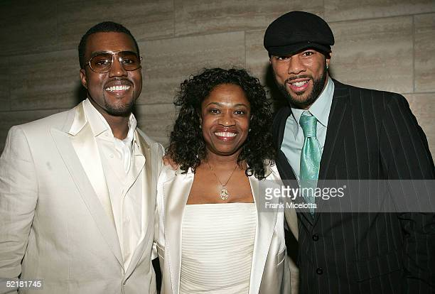 Producer Kanye West his mother Donda and rapper Common at the Kanye West and Creative Artist Agency Foundation launch of the Kanye West Foundation...