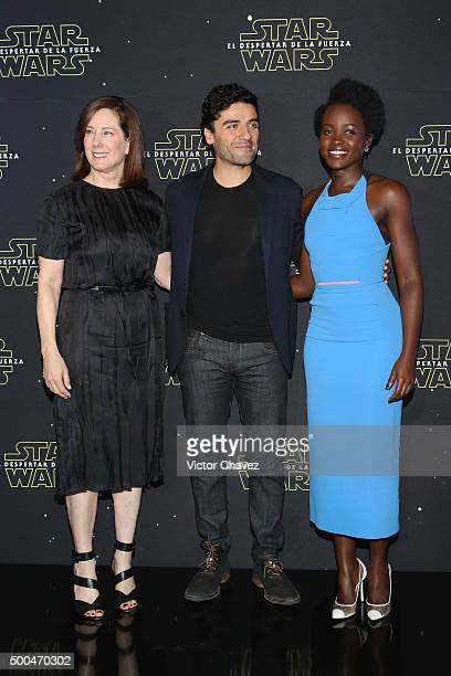 """Producer Kathleen Kennedy, actor Oscar Isaac and actress Lupita Nyong'o attend the """"Star Wars: The Force Awakens"""" Mexico City photo call at St Regis..."""