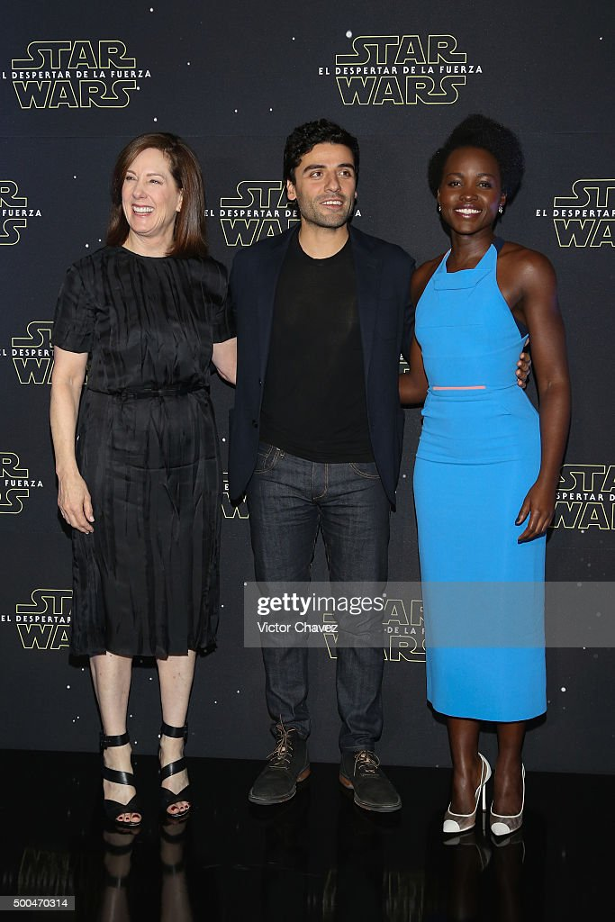 Producer Kathleen Kennedy, actor Oscar Isaac and actress Lupita Nyong'o attend the 'Star Wars: The Force Awakens' Mexico City photo call at St Regis Hotel on December 8, 2015 in Mexico City, Mexico.
