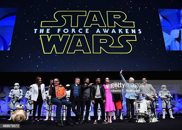 Producer Kathleen Kennedy, actors Peter Mayhew, Mark Hamill, Oscar Isaac, John Boyega, Daisy Ridley, Carrie Fisher, Anthony Daniels and director J.J....