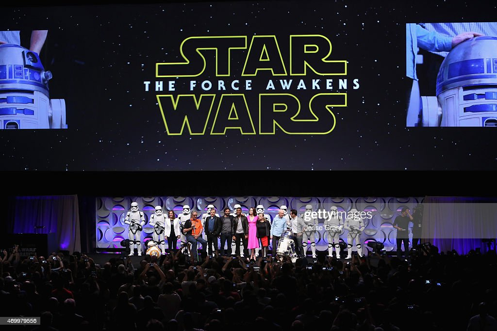 Producer Kathleen Kennedy, actors Peter Mayhew, Mark Hamill, Oscar Isaac, John Boyega, Daisy Ridley, Carrie Fisher, Anthony Daniels, director J.J. Abrams and moderator Anthony Breznican speak onstage during Star Wars Celebration 2015 on April 16, 2015 in Anaheim, California.