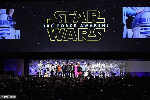 Producer Kathleen Kennedy actors Peter Mayhew Mark Hamill Oscar Isaac John Boyega Daisy Ridley Carrie Fisher Anthony Daniels director JJ Abrams and...